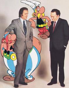 El guionista René Goscinny (dreta) i el dibuixant Albert Uderzo (esquerra).